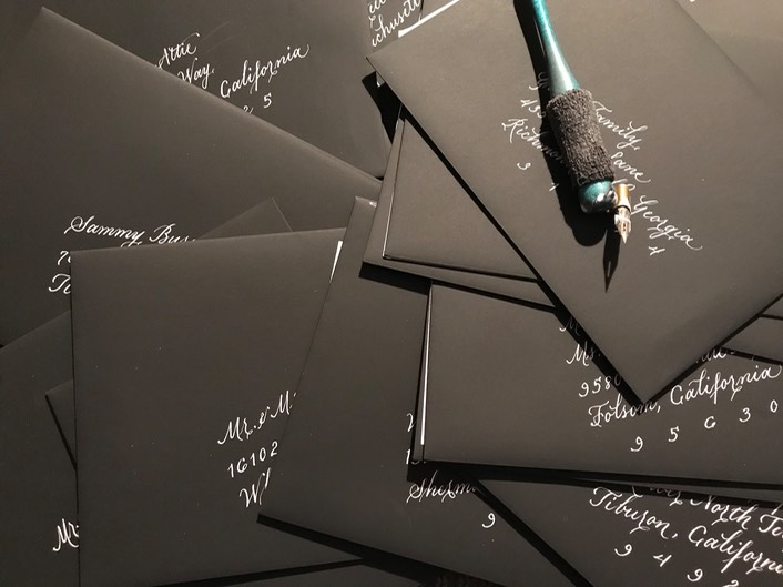 Black Envelopes with Silver Ink Calligraphy