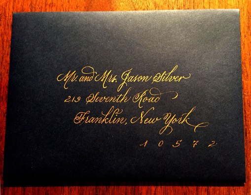 invitation-envelope-gold ink