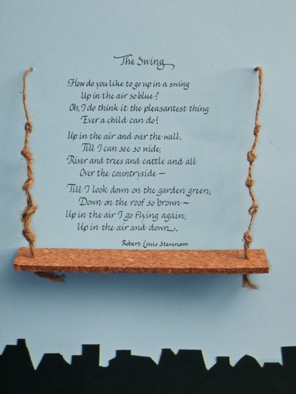 Unique Gifts Of Calligraphy The Swing By Robert Lewis Stevenson